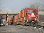 With a decent block of double stacks at the headend, CP 8538 leads X500-11 eastward