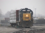 Y103 waits in the fog for Q326 to pull into the yard