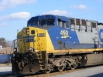 A close up of the Dents N Dings on CSX 490