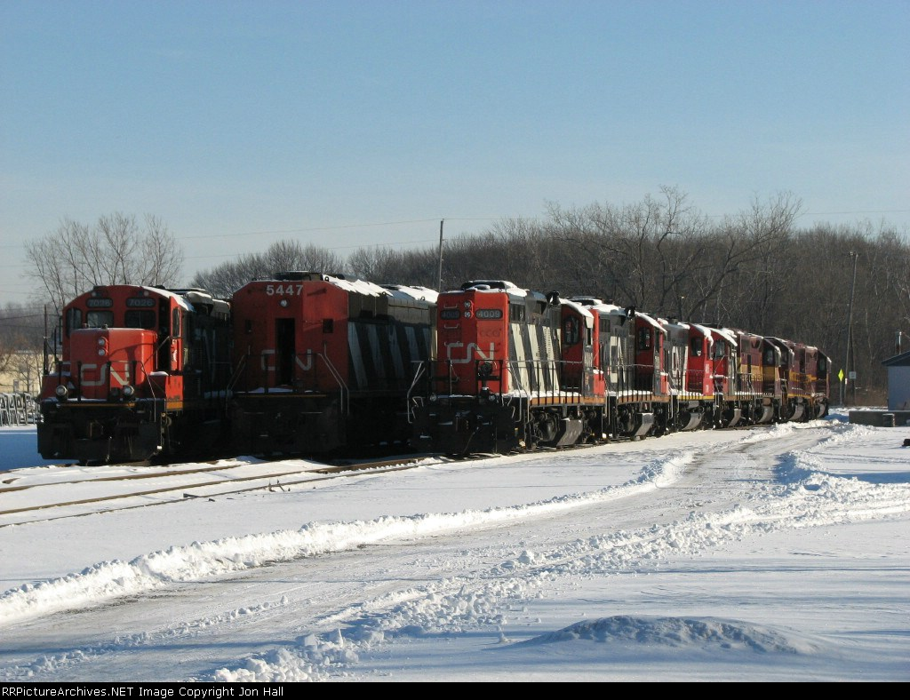 CN 7026, 5447 & 4009 sitting at the west end of the deadline