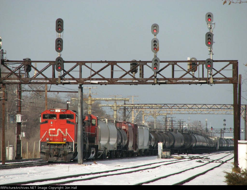 CN 8024 sits by the signal bridge waiting to go south with M336