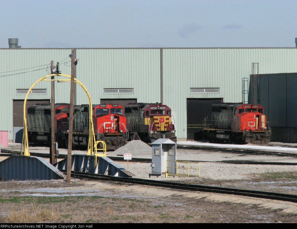 WC 2500 sits between CN units outside the shop