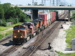 BNSF 4012 leads west under the Stevenson with a short intermodal