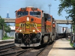 BNSF 4659 leads its train out of Cicero Yard as it starts its journey to South Seattle