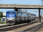 The Southwest Chief ducks under the IC as it begins its westward journey