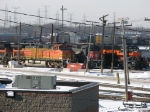 Amid all the poles, CF&E's CEFX 9362 sits between BNSF 5177 & IHB 3862