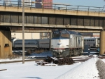 90221 leads an equipment move out of Union Station