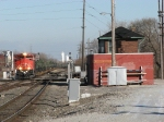 CN 8021 leading X373 past Jay Tower