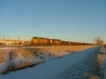 WB Coal empties waiting for new crew on New Years Day in Aurora Colo along the KP Line