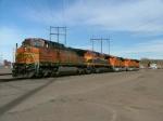 BNSF/KCS Units await their turn to pull.