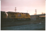 UP 7717 pulls a Z-train east at sunrise.