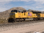 UP 3962 leads a WB doublestack at 12:37pm