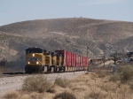 UP 5275 leads a WB doublestack at 12:29pm