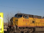 UP 9777 (Mr Rizzo?) leads a WB manifest (MFWWC - Fort Worth to West Colton) into the Alfalfa yard at 4:16pm