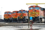 BNSF Power waits to go west. Neat to see all three paints scheme's