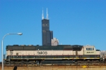 BNSF 9408 passing the Sears Tower on clear crisp afternoon on the St Charles Air Line.