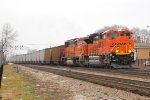 BNSF 9390 w/DEEX loaded train with all almost all new hoppers headed to the CN.