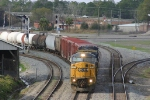 Southbound freight rolls out of Rice Yard