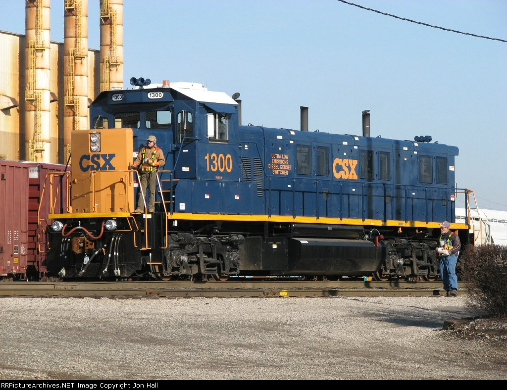 The yard crew is almost ready to go to work with their new toy, CSX 1300,