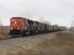 CN 5705 & 2510 head east with train G873's grain loads