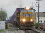UP 5109 leading Q132 northward as it rolls through the crossover