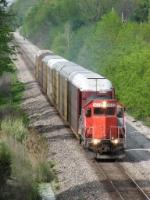 GTW 4632 leads 708 east with its 7 autoracks