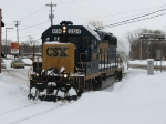 6134 leads Y121 through the deep snow near the lakeshore
