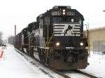 NS's B30, Z644-28, waits for maintainer to fix the switch at MA before starting down the Lansing Secondary with 5 cars