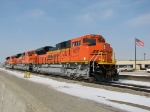 Brand new BNSF 9177, 9172 & 9162 sits outside the Torrey Yard office