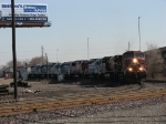 CP 9654 leading 7 other engines off the Conrail line as CP's 171 becomes NS's 25T