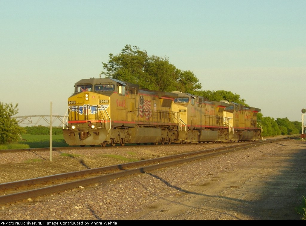 UP 9448 leads a trio of GEs on a light power move into the yard