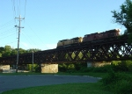 UP 9446 leads the detour across the south Rock River bridge on the UP line