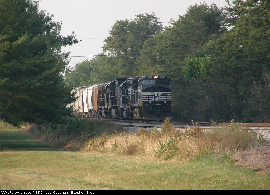 NS 9704 brings her SB manifest slowly down the grade