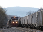 The NB 38Q pulling into the yard with the Blue Ridge Mountains behind her