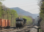 Units moving ahead, preparing to take a Ballast train North