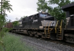 NS 9596, 2nd. unit on the NB 36Q coming to a stop behind the station