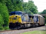 CSX 665 leads an Autorack thru Warren, MA
