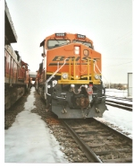BNSF 5986 rear DPU on a loaded southbound coal train