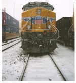 UP 7732 in the snow storm