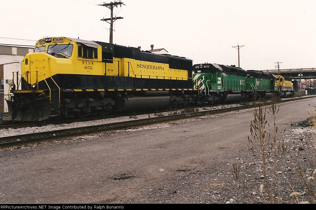 An overcast day and an assortment of  power on the service track