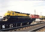 B40-8 4040 leads two other units into Little Ferry yard with a stack train