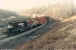 New train NY-6 rolls past Charlottesburg Resevoir with an NS GP50/BAR GP 38 combo