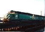 A late running SLN-4 enters Little Ferry yard at Overpeck Creek as the sun starts to set