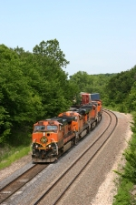 BNSF 1051 leads the westbound  Z NYCLAC9 17 on this very humid 90 degree day.