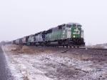 BN 9218 leads a train