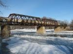 Northbound grain train crosses the Wabash River