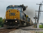 CSX 8729 lays on the smoke