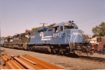 SD40 # 6262(ex PC 6262) leads the SENS south through CP-5 with N&W and NS units