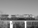 CSX 62 in Augusta Canal in B&W