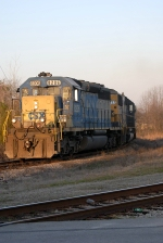 Csx F750 heads into the early morning sun toward the simms block